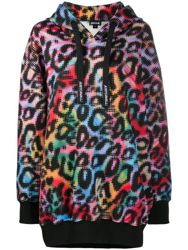 Just Cavalli oversized leopard print hoodie in red