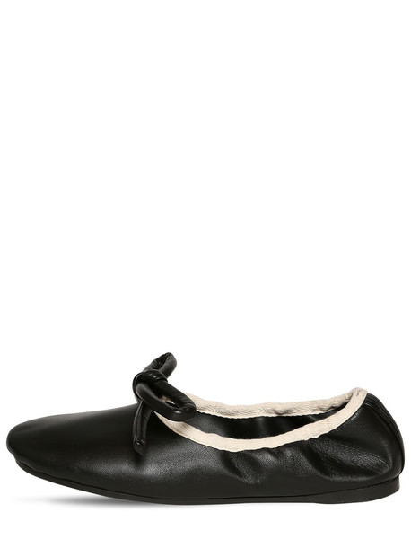 LANVIN 10mm Leather Ballerina Flats in black