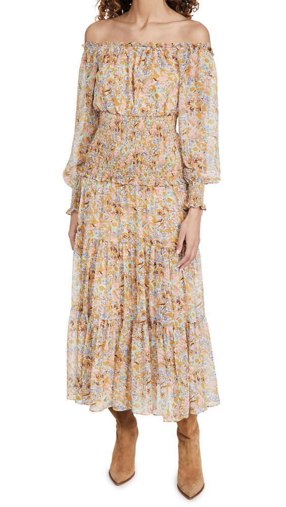 LIKELY Indica Dress in gold / mustard / multi