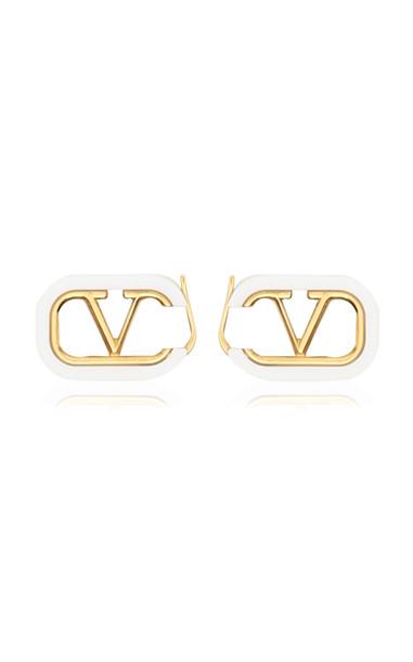 Valentino Valentino Garavani Gold-Tone And Enamel Earrings in white