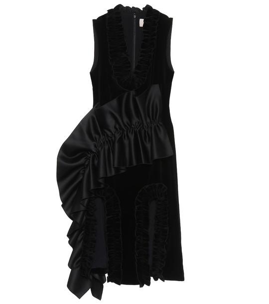 Christopher Kane Ruffle-trimmed velvet dress in black