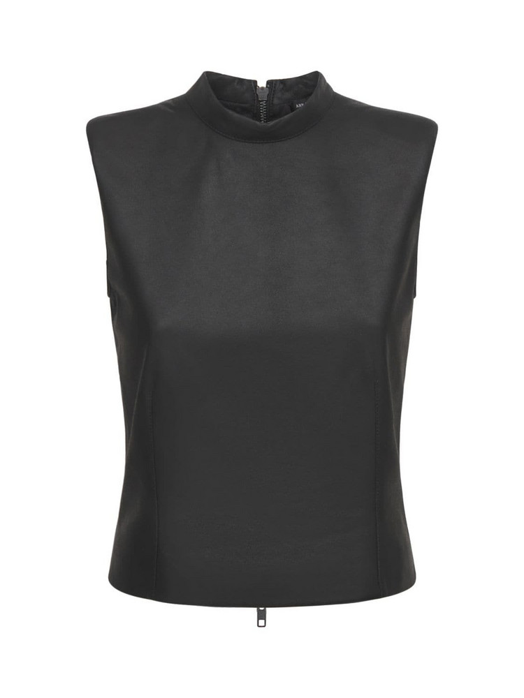 ANN DEMEULEMEESTER Angelina Sleeveless Leather Top in black