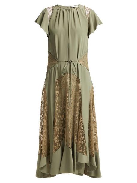 Chloé Chloé - Lace Insert Silk Crepe Dress - Womens - Green