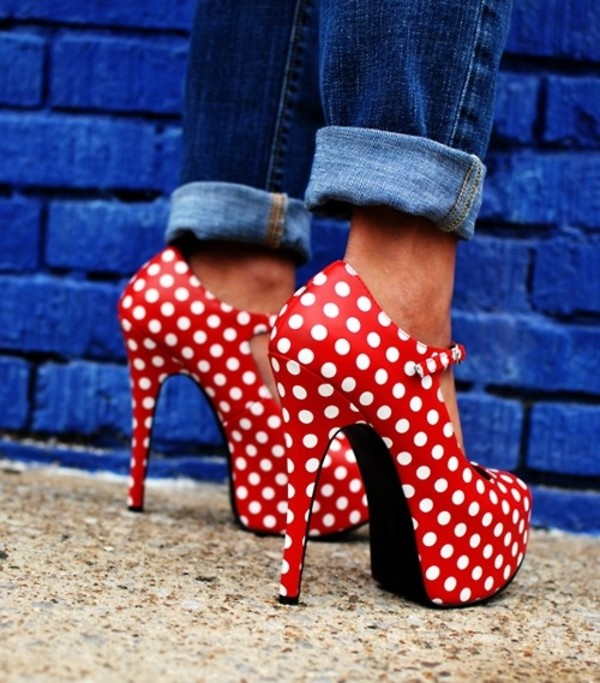 shoes red modern twist pop art polka dots 60s style heels high heels red high heels Pin up print heels strappy spring white found skletos goes with everything cute amazing polka dots red and white strappy heels
