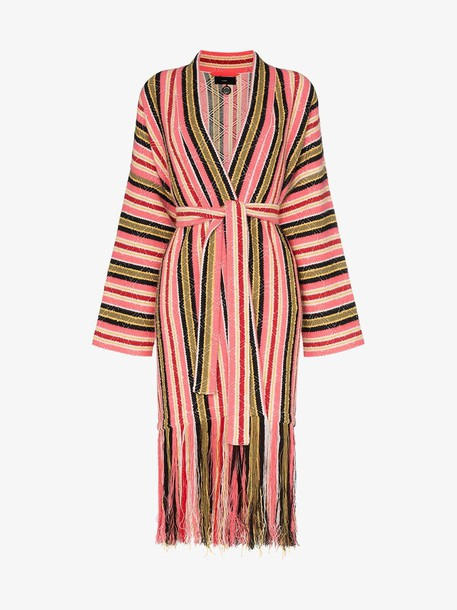 Alanui Baja stripes fringe cardigan in pink / multi