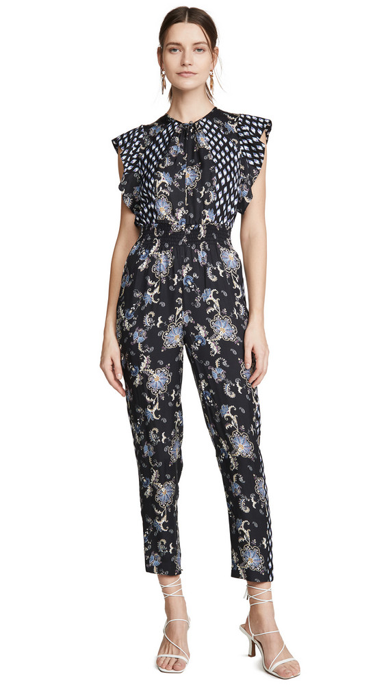 Rebecca Taylor Sleeveless Paisley Jumpsuit in black