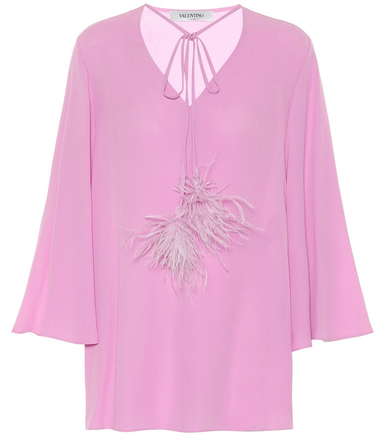 Valentino Feather-trimmed silk-crêpe blouse in pink