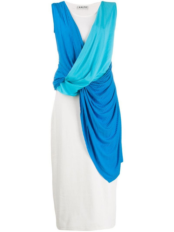 Aalto sleeveless draped dress in white
