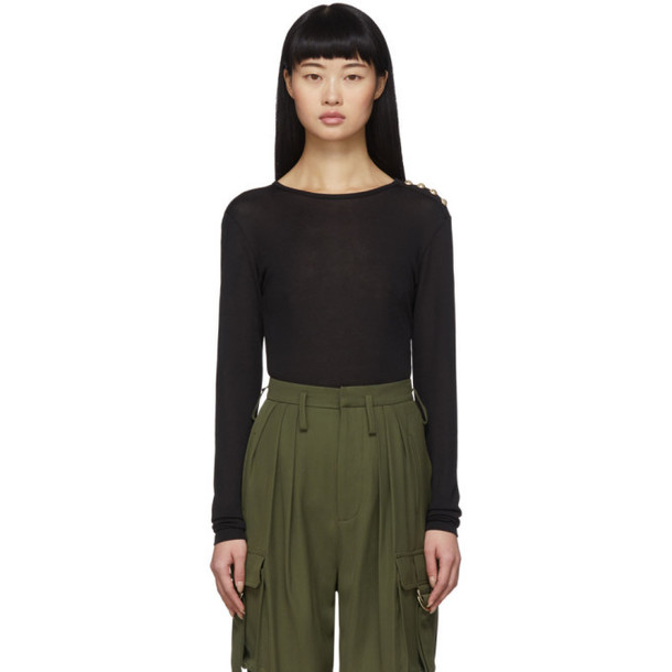 Balmain Black 4-Button Long Sleeve T-Shirt