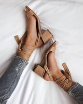 shoes,beige shoes,sandals,lace up heels