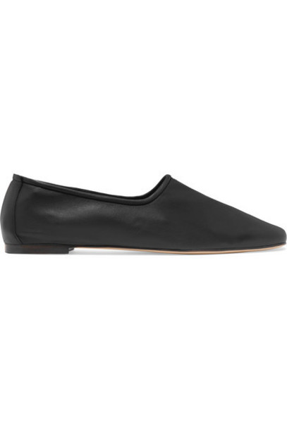 BY FAR - Petra Leather Flats - Black