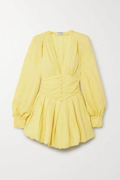 Attico - Cutout Gathered Georgette Mini Dress - Yellow