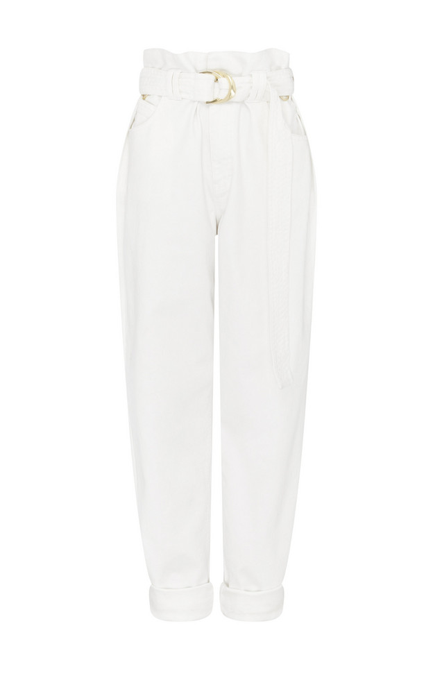 Aje Eucalypt Belted High-Rise Straight-Leg Jeans Size: 4 in white