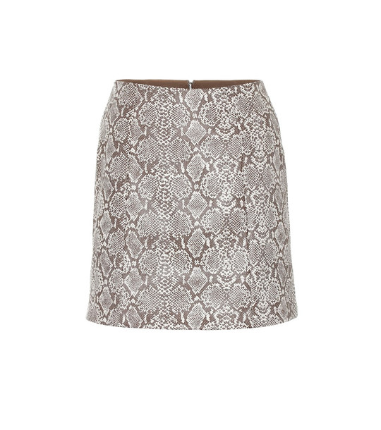 AlexaChung Snake-effect faux leather skirt in brown