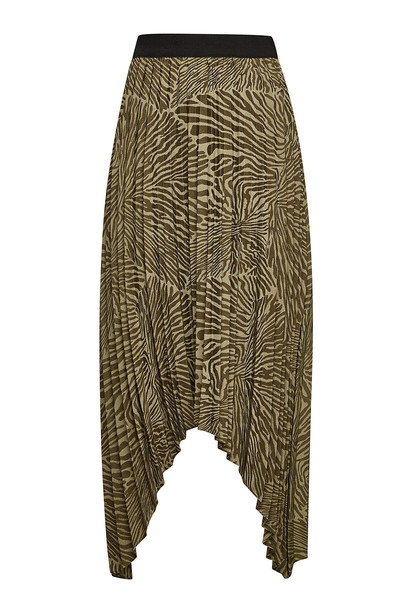 By Malene Birger Nicanora Printed Pleated Skirt  in green
