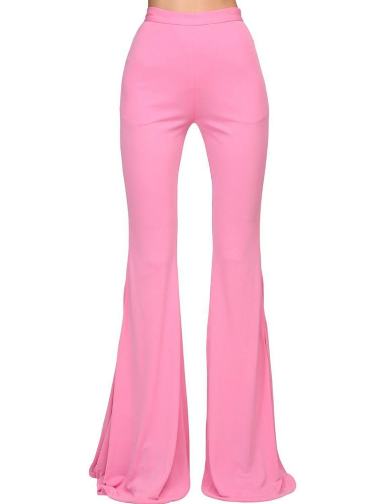 BALMAIN High Waist Flared Jersey Pants in pink
