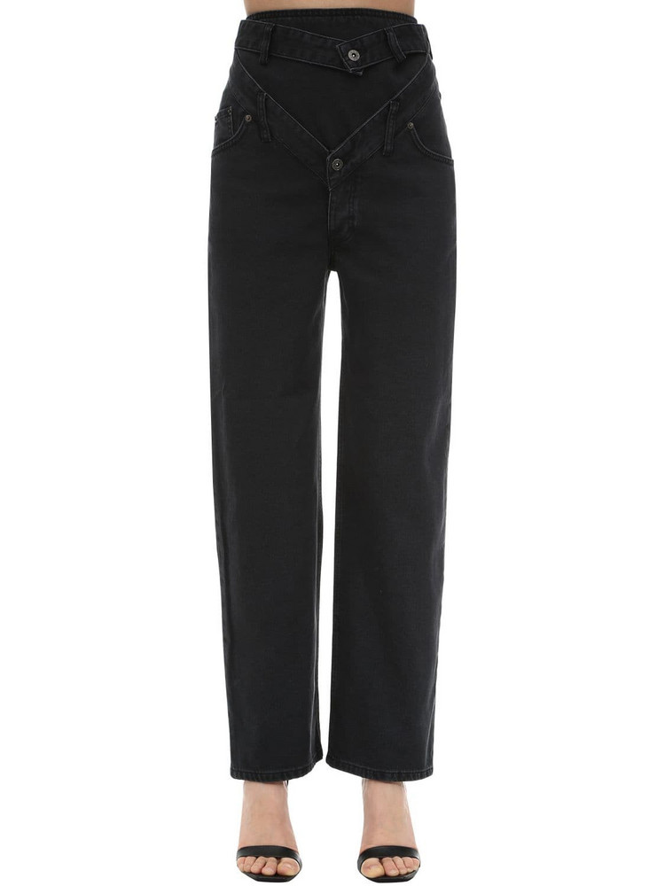 Y PROJECT Cotton Denim Jeans W/ Cut Outs in black