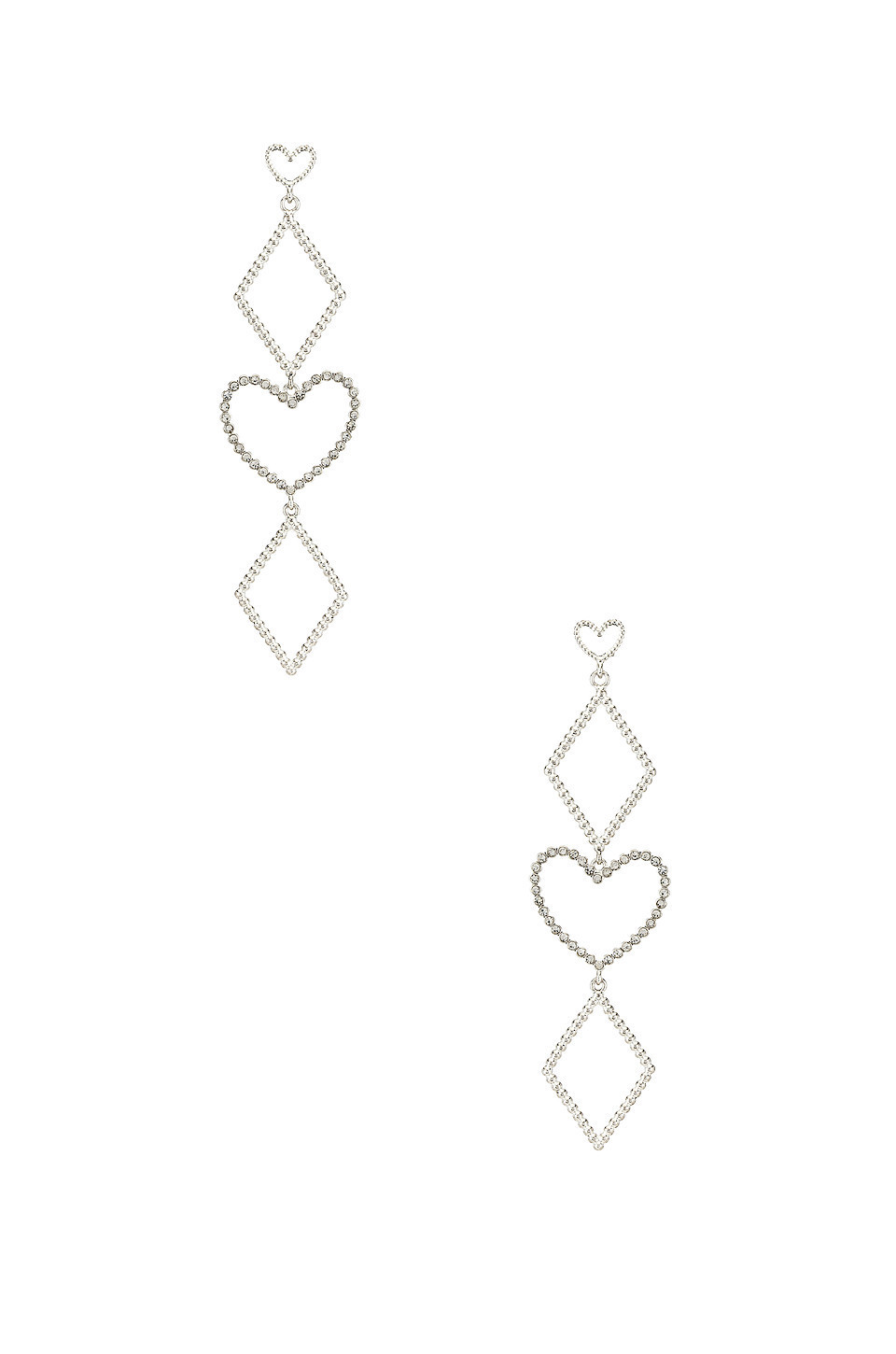 Luv AJ The Dotted Heart Statement Earrings in metallic / silver
