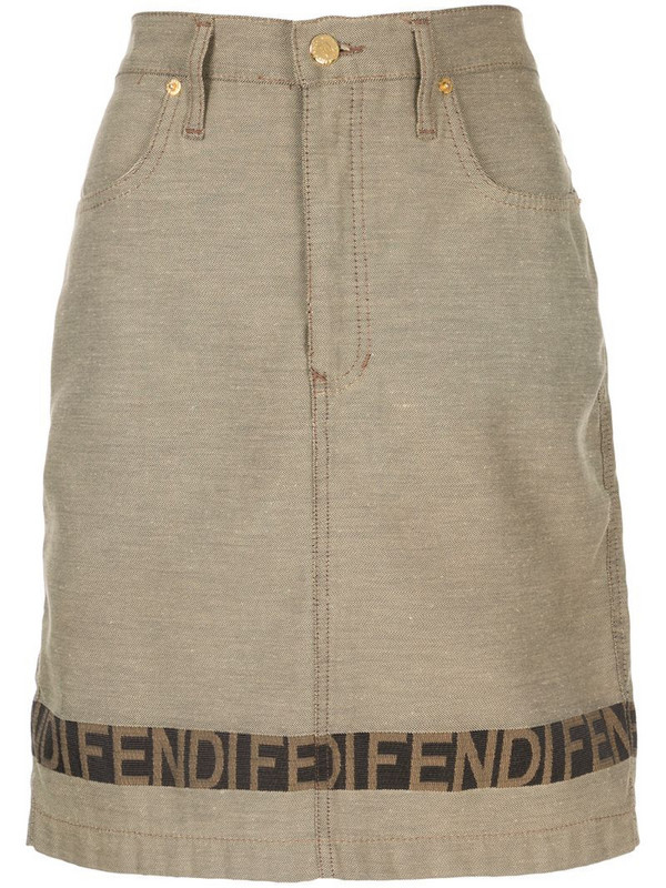 Fendi Pre-Owned logo band fitted skirt in brown