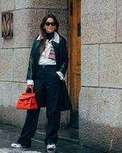 bag,leather bag,sneakers,high waisted pants,wide-leg pants,black pants,black coat,leather,white shirt,black turtleneck top,sunglasses