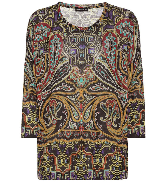Etro Printed stretch-jersey top in green