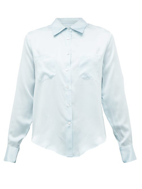 Officine Générale - Carine Silk-satin Shirt - Womens - Light Blue