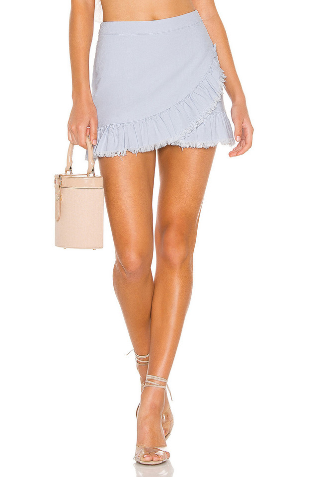 superdown Nola Ruffle Wrap Skirt in blue