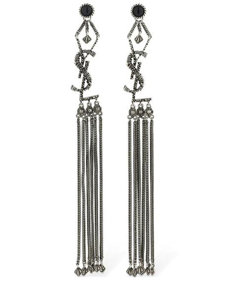 SAINT LAURENT Pompon Marrakech Logo Earrings in silver