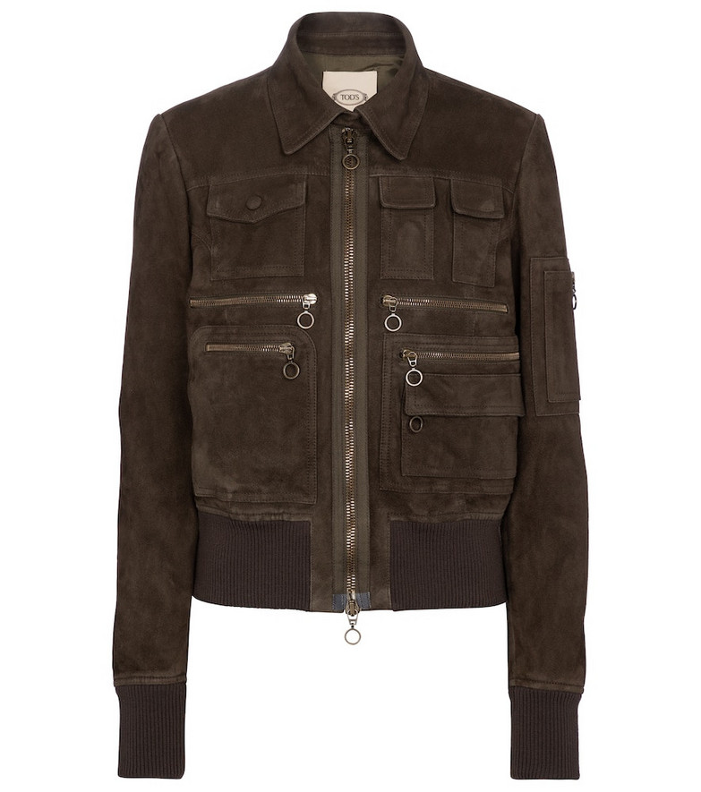 Tod's Suede bomber jacket in brown