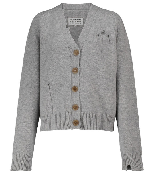 Maison Margiela Distressed stretch-wool cardigan in grey