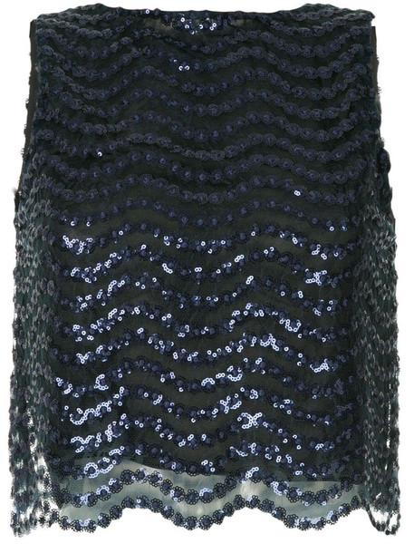 Alice+Olivia sequin embellished mesh top in blue