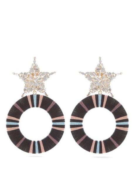 Maryjane Claverol - Akila Star Crystal Embellished Drop Hoop Earrings - Womens - Black Multi