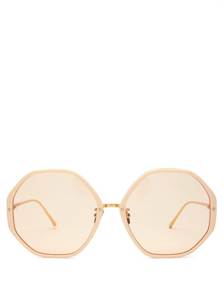 Linda Farrow - Oversized Hexagonal Frame Sunglasses - Womens - Gold