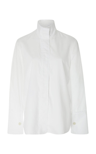 ARIAS Long Sleeve Cotton Blouse in white