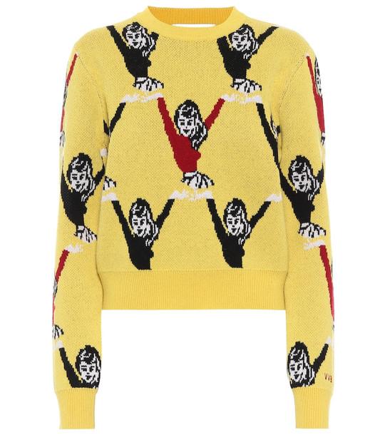 Victoria Victoria Beckham Intarsia wool sweater in yellow