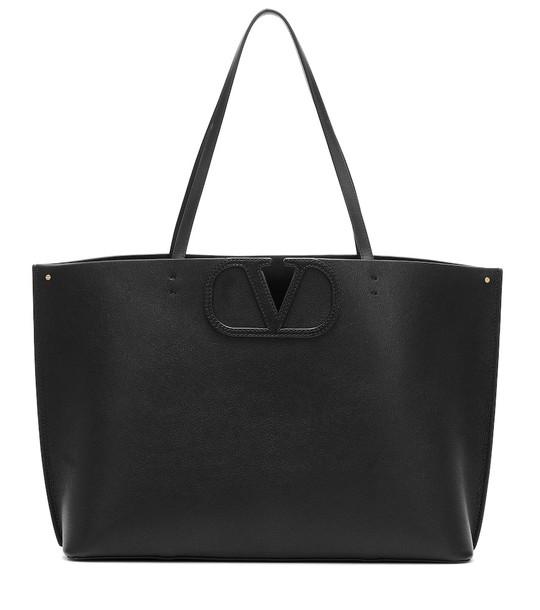 Valentino Garavani VLOGO Medium leather shopper in black