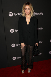 pants,see through,ashley tisdale,celebrity,blazer,black blazer,all black everything
