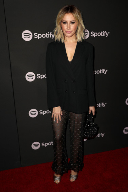 pants see through ashley tisdale celebrity blazer black blazer all black everything