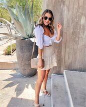 top,white top,crop tops,white sandals,mini skirt,ruffle,ysl bag