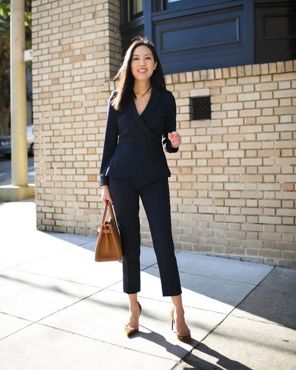 jacket black blazer black pants pumps bag