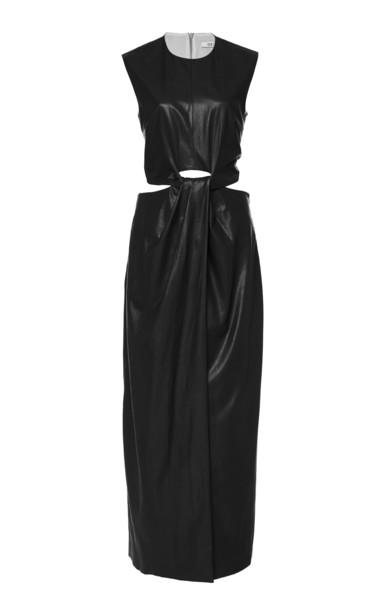 Deitas Tatiana Organic Vegan Leather Knotted Midi Dress in black