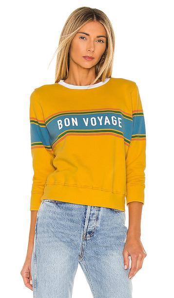 MOTHER The 3/4 Sleeve Koozie Sweatshirt in Mustard