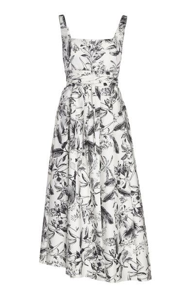 A.W.A.K.E. MODE Monochromatic Floral-Print Crepe Midi Dress Size: 34 in black