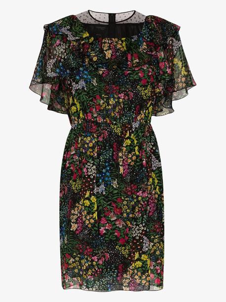 Giambattista Valli Floral print silk ruffled dress