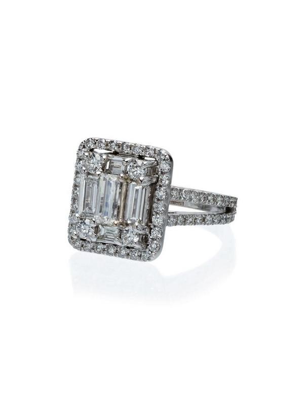 Mindi Mond 18k white gold 2.4 carat round diamond ring in metallic