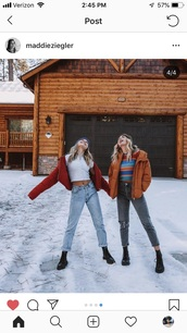 jeans,Maddie ziegler,snow,winter outfits,winter coat,jacket,coat,beanie