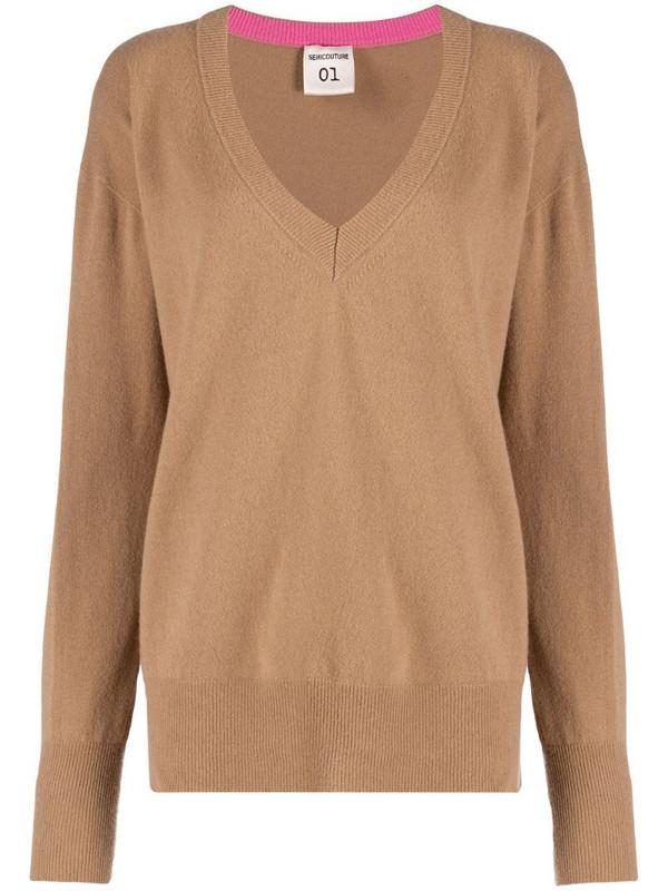 Semicouture V-neck sweater in neutrals