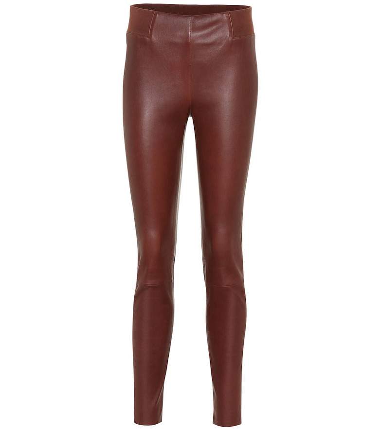 Brunello Cucinelli Leather leggings in brown