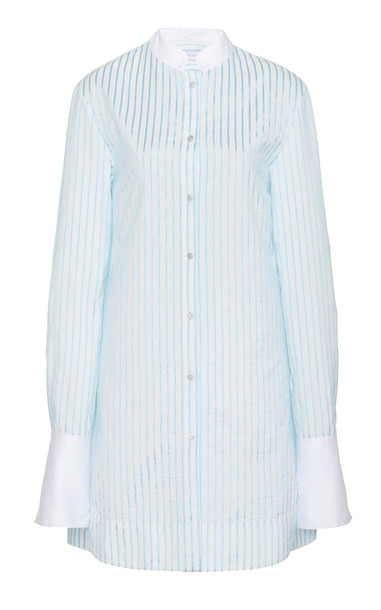 Marina Moscone Striped Cotton-Blend Tunic Size: 2 in blue