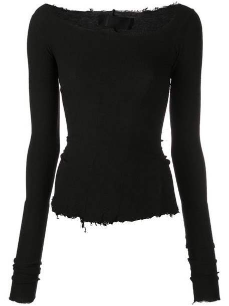 Marc Le Bihan asymmetric neck sweatshirt in black